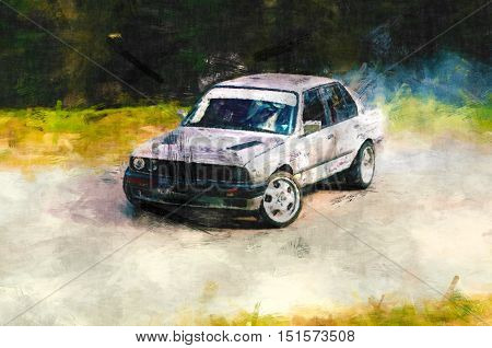 rally racing, automobile impressionism painting, sport car painting,