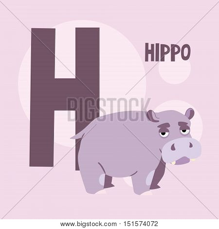 cute hippo on a background of the letter H. The square background. vector illustration