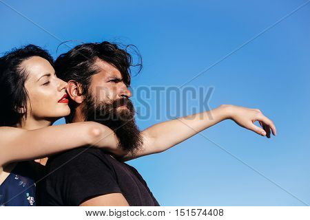 Pretty Girl Hugs Handsome Man