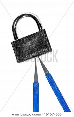 Closed door lock with master keys isolated on white background