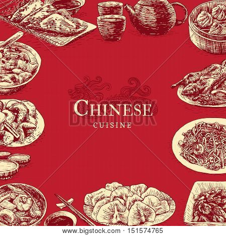 Chinese cuisine colorful illustration. Vector illustration of different Chinese meals.