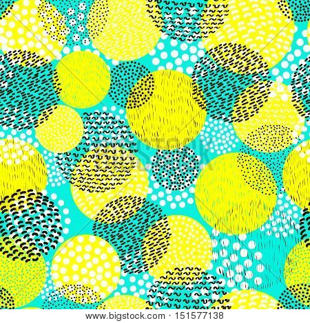 Circles seamless pattern. Bright background.Abstract. 80's - 90's years design style. Trendy.