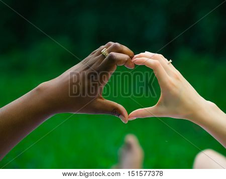 Hands of man african American husband and woman caucasian wife with gold rings make heart shape gesture on nature on summer day