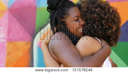 Women meeting and hugging in the park