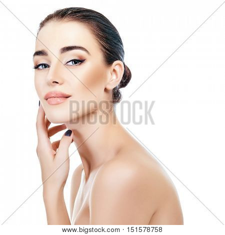 Majestic woman's beauty. Portrait of beautiful girl over white background. Beauty treatment, cosmetology, spa, health care, body and skin care concept. poster