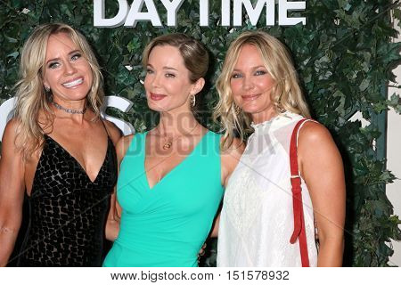 LOS ANGELES - OCT 10:  Tamara Clatterbuck, Jennifer Gareis, Sharon Case at the CBS Daytime #1 for 30 Years Exhibit Reception at the Paley Center For Media on October 10, 2016 in Beverly Hills, CA