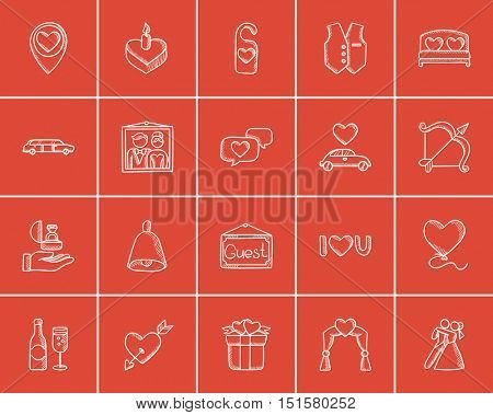 Wedding sketch icon set for web, mobile and infographics. Hand drawn wedding icon set. Wedding vector icon set. Wedding icon set isolated on red background.