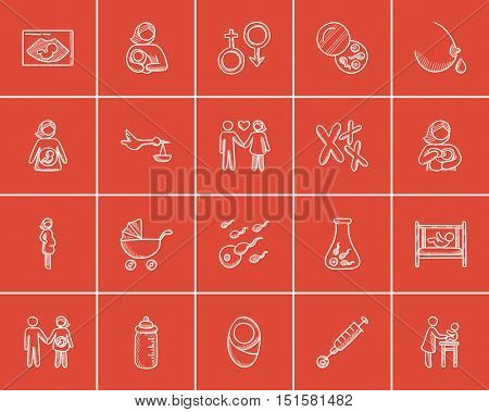 Maternity sketch icon set for web, mobile and infographics. Hand drawn maternity icon set. Maternity vector icon set. Maternity icon set isolated on red background.