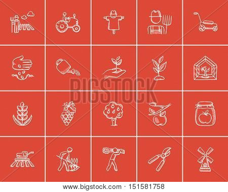 Agriculture sketch icon set for web, mobile and infographics. Hand drawn agriculture icon set. Agriculture vector icon set. Agriculture icon set isolated on red background.