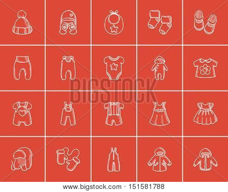 Baby clothes sketch icon set for web, mobile and infographics. Hand drawn baby clothes icon set. Baby clothes vector icon set. Baby clothes icon set isolated on red background.