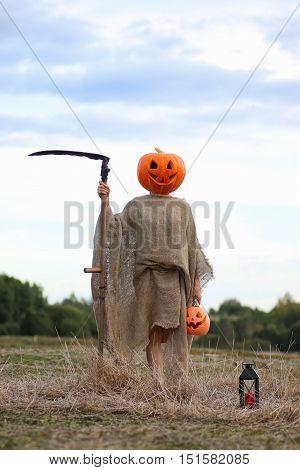 pumpkin head deamon horror concept for halloween holiday