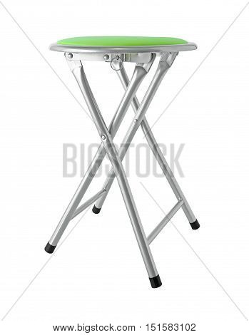 Round Green Cushoin Folding Chair isolated on white background