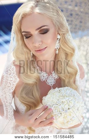 Beautiful Bride Portrait Wedding Makeup And Hairstyle, Girl In White Veil, Jewelry Model, Fashion Br