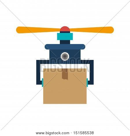 drone carrying box with one airscrew vector illustration