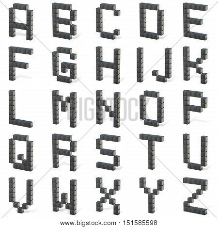 8 Bit Font. Capital Letters All. 3D