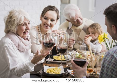 Elegant Dinner Of A Multigenerational Family
