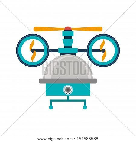 drone of three airscrew with cabin and camera vector illustration