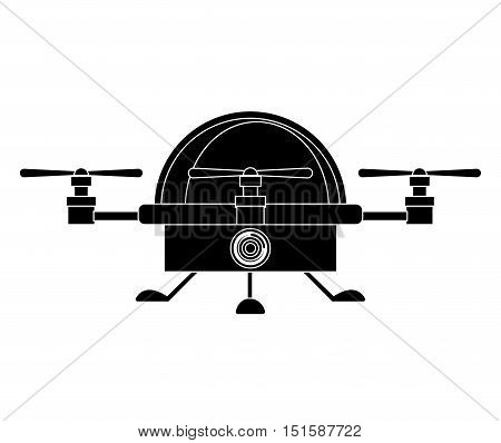 silhouette drone advanced with cabin and three airscrew vector illustration