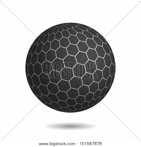 Dark magic sphere with surface of hexagons. Looks like unbreakable and very protected mysterious object. 3D vector illustration with shadow on white background.