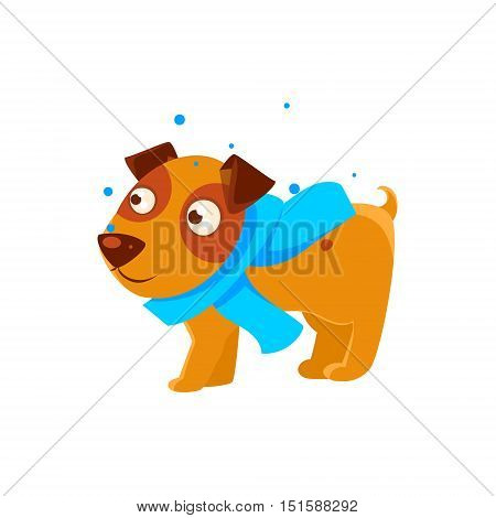 Puppy In Blue Scarf Walking Outside In Winter. Dog Everyday Activity Childish Drawing Isolated On White Background. Funny Animal Colorful Vector Sticker.