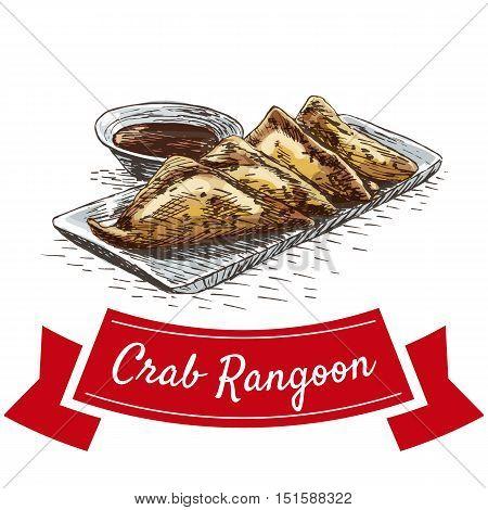 Crab rangoon colorful illustration. Vector illustration of Chinese cuisine.