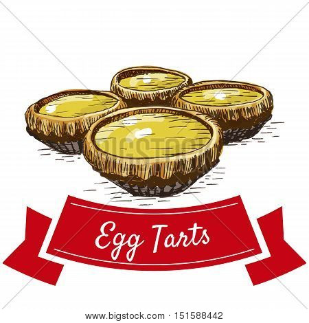Chinese egg tarts colorful illustration. Vector illustration of Chinese cuisine.