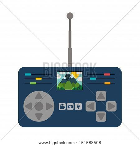 remote control advanced for drones with antenna and camera vector illustration