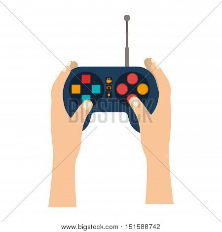 hands with remote control with antenna vector illustration