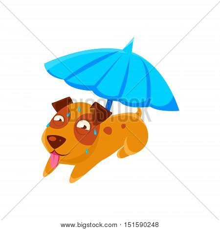 Puppy Sweating Under Umbrella On The Beach. Dog Everyday Activity Childish Drawing Isolated On White Background. Funny Animal Colorful Vector Sticker.