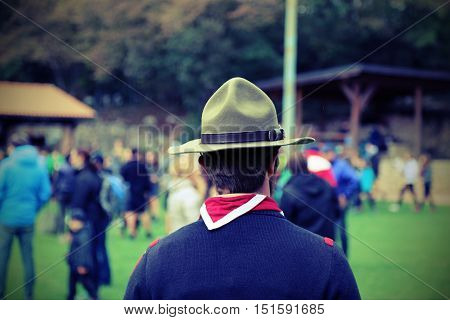 Scout Leader At The Gathering Of Young People In Uniform