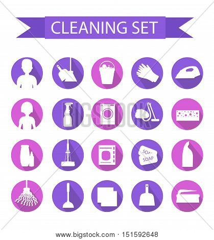 Set of icons for cleaning tools. House cleaning. Cleaning supplies. Flat design style. Cleaning design elements. Vector illustration