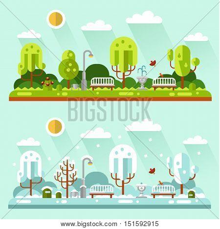 Flat design vector nature summer and winter landscapes illustrations of park. Including bench, lantern, fountain, birds, snowfall, snow, trees, bush, sun, snowdrift.