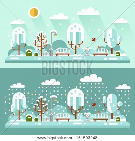 Flat design vector nature winter day and night landscapes illustrations of park. Including bench, lantern, drinking bowl for birds, birds, snowfall, snow, trees, bush, sun, snowdrift.