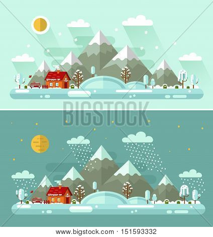 Flat design vector Day and Night nature winter landscapes illustration with house, bench, sun, hills, mountains, moon, stars, birds, clouds, trees, snow, snowfall, snowdrift, icicles.
