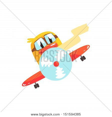 Duckling Pilot Cute Character Sticker. Little Duck In Funny Situation Childish Cartoon Graphic Illustration On White Background.