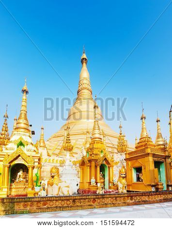 Shwedagon or Great Dagon Pagoda in Yangon. Myanmar.