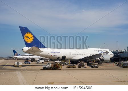 CHICAGO, IL - APRIL 05, 2016: Lufthansa Boeing 747 at O'Hare Airport. Chicago O'Hare International Airport is an international airport located on the Far Northwest Side of Chicago, Illinois.