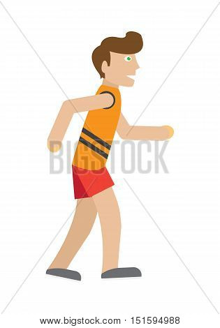 Runner on jog vector. Flat style. Man in sportswear running. Marathon. Moving activity and healthy life. For sport concepts, ad, infographics. Sport competition. Isolated on white background