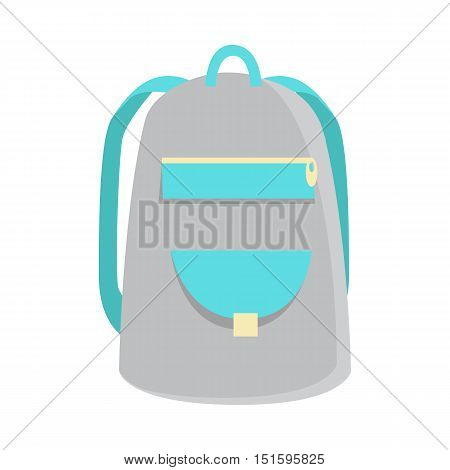 Gray backpack icon in flat. Schoolbag icon. Hiking backpack. Kids backpack, isolated icon backpack, education and study school, rucksack, urban backpack vector illustration on white background