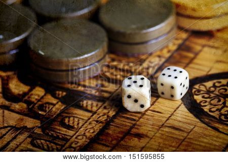 a Backgammon dice vintage background , games of chance