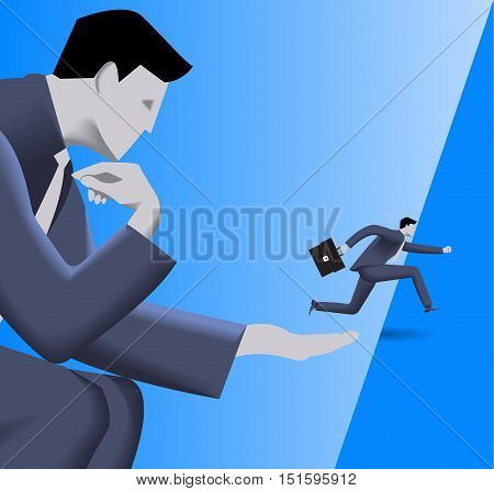 Corporate vs small business cooperation concept. Huge businessman helps small businessman to jump over abyss. Concept of help, protection, cooperation, collaboration, mentoring. Vector illustration.