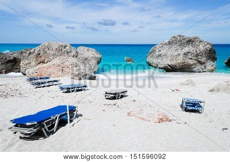 Sunbeds on the beach Kavalikefta on Ioian island Lefkada