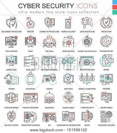 Vector Cyber security ultra modern color outline line icons for apps and web design