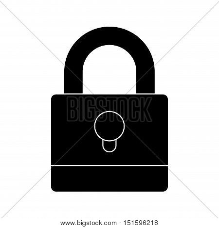 silhouette padlock with black body and shackle vector illustration