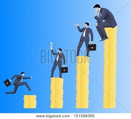 Hierarchy concept. Different business roles on different payment options. Payment and position business differentiation. Overlooking, motivating, searching and working roles.Vector illustration.