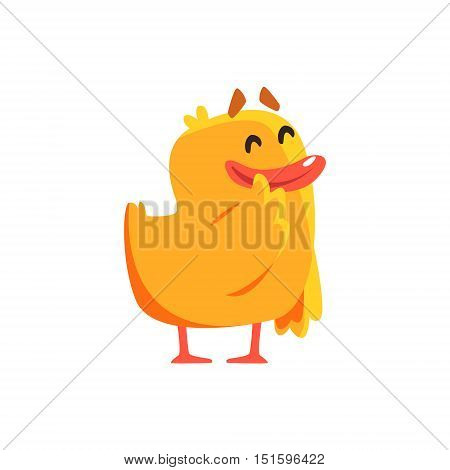 Happy Duckling Cute Character Sticker. Little Duck In Funny Situation Childish Cartoon Graphic Illustration On White Background.