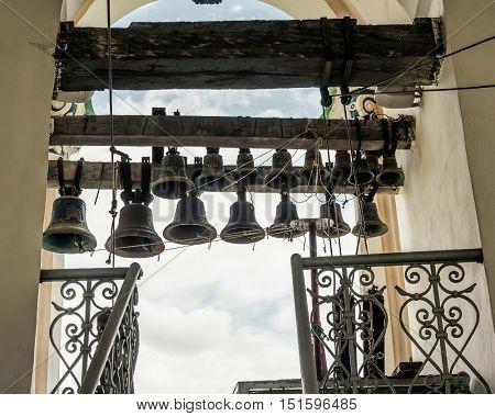 bells in bell tower of Kyiv Pechersk Lavra inside, Kyiv, Ukraine