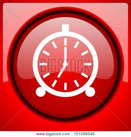 alarm red icon plastic glossy button