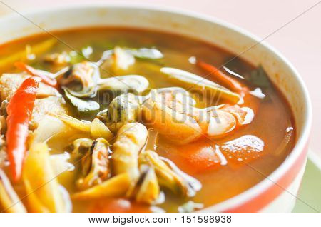 tom-yam-kungspicy soup or thai spicy soup, thai food
