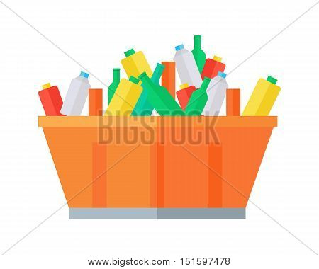 Container with garbage vector. Flat design. Huge tank for waste full of glass and plastic bottles. Waste sorting and recycling concept. Isolated on white background. Municipal utilities service.